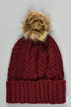 Load image into Gallery viewer, Maroon Cable Knit Beanie with Pom Pom