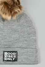 Load image into Gallery viewer, Grey and Black Knitted Beanie with Pom Pom (Pack of 2)