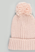 Load image into Gallery viewer, Pink Check Knitted Beanie and Scarf Set (Pack of 2)