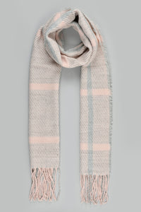 Pink Check Knitted Beanie and Scarf Set (Pack of 2)