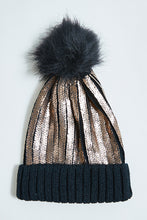 Load image into Gallery viewer, Black Foil Knitted Beanie with Pom Pom