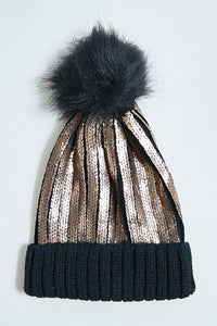 Black Foil Knitted Beanie with Pom Pom
