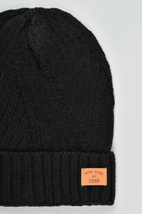 Grey and Black Cable Knitted Beanies (Pack of 2)