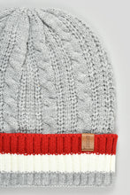 Load image into Gallery viewer, Grey Cable Knitted Beanie