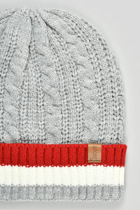 Grey Cable Knitted Beanie