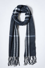 Load image into Gallery viewer, Grey Check Knitted Scarf