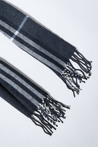 Grey Check Knitted Scarf