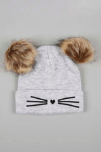 Load image into Gallery viewer, Grey And Black Character Knitted Beanie With Pom Pom (Pack of 2)