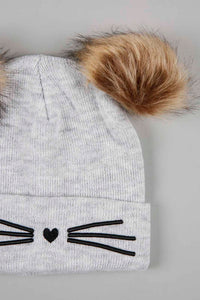 Grey And Black Character Knitted Beanie With Pom Pom (Pack of 2)