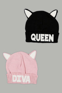 Black And Pink Knitted Beanie (Pack of 2)