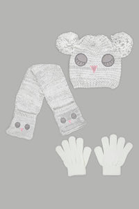 Grey Character Beanie, Glove and Scarf Set With Pom Pom (Pack of 3)