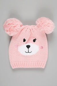 Pink Character Beanie, Glove and Scarf Set With Pom Pom (Pack of 3)
