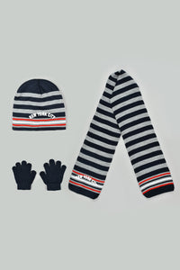 Navy Stripe Beanie, Gloves and Scarf Set With Pom Pom (Pack of 3)