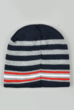 Load image into Gallery viewer, Navy Stripe Beanie, Gloves and Scarf Set With Pom Pom (Pack of 3)