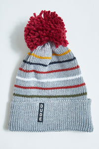 Grey/Maroon Knitted Stripe Beanie