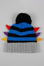 Load image into Gallery viewer, Navy Colourful Side Ear Knitted Beanie with Gloves Set (Pack of 2)