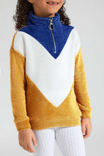 Load image into Gallery viewer, Blue/White/Mustard Chevron Sweatshirt
