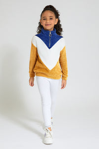 Blue/White/Mustard Chevron Sweatshirt