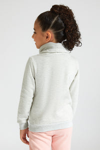 Grey Lovely Roll Neck Sweatshirt