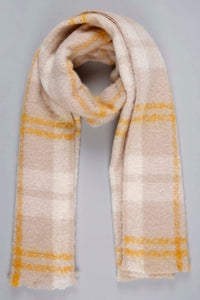 Beige Ribbed Oversize Check Knitted Scarf