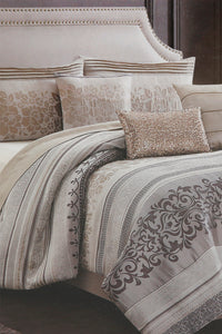Grey 7-Piece Jacquard Comforter Set (King Size)