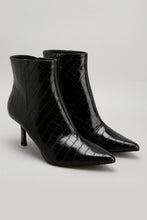 Load image into Gallery viewer, Black Pointy Ankle Boot With Metallic Heel