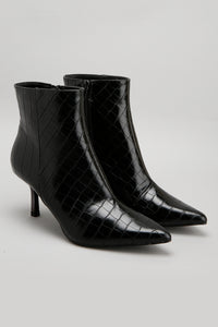 Black Pointy Ankle Boot With Metallic Heel