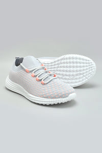 Grey Fly Knit Material Trainer