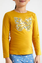 Load image into Gallery viewer, Mustard Butterfly Flip Sequence T-Shirt
