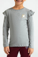 Load image into Gallery viewer, Grey Small Heart Printed Frill T-Shirt