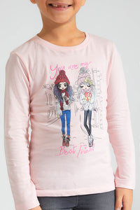Peach Girl Print T-Shirt
