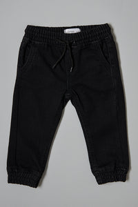 Black Knitted Jeans With Cuff Hem