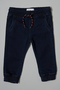 Blue Knitted Jeans With Cuff Hem