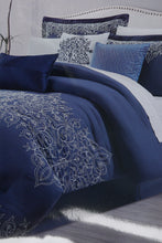 Load image into Gallery viewer, Navy 7-Piece Embroidery Comforter Set (King Size)
