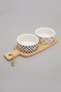 White Abstract Round Bowl With Wooden Tray (2 Piece Set)