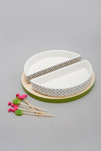 White Abstract Round Serving Bowl With Wooden Tray (9 Piece Set)