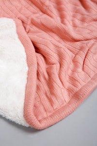 Pink Knitted/Sherpa Reversible Throw