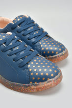 Load image into Gallery viewer, Navy Glitter Transparent Sole Sneaker