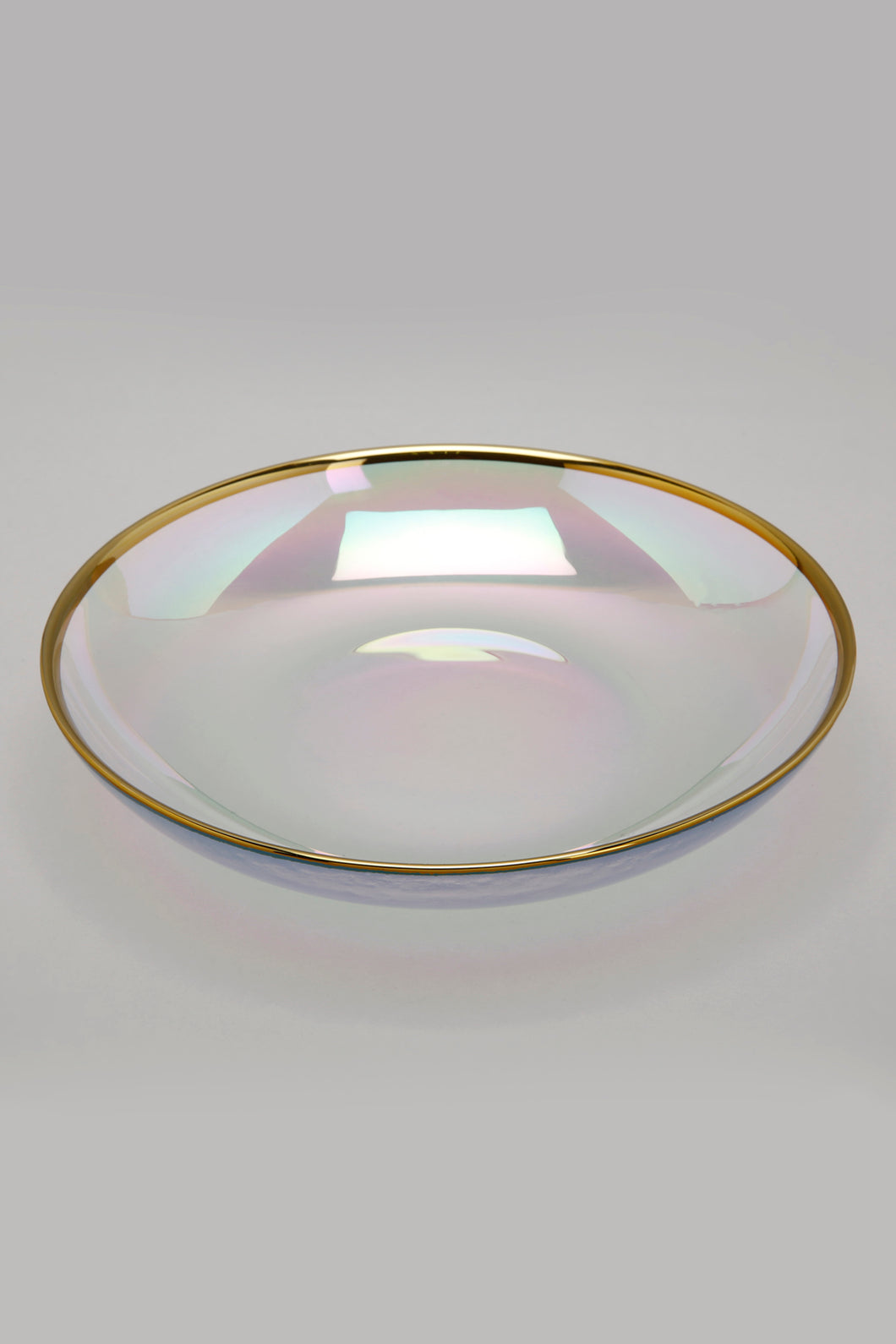 Iridescent Colour Gold Band Soup Plate