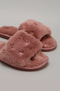 Pink Embroidered Slipper