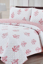 Load image into Gallery viewer, Pink Reversible 3-Piece Quilt Set (Double Size)