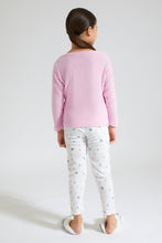Load image into Gallery viewer, Pink/White Rabbit Print Fleece Pyjama Set