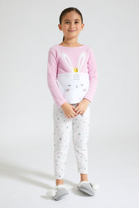 Pink/White Rabbit Print Fleece Pyjama Set