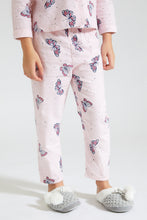 Load image into Gallery viewer, Pink Butterfly Print Flannel Pyjama Set