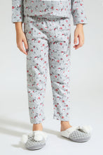 Load image into Gallery viewer, Grey Floral Print Flannel Pyjama Set