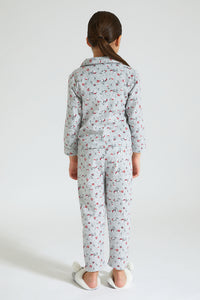 Grey Floral Print Flannel Pyjama Set