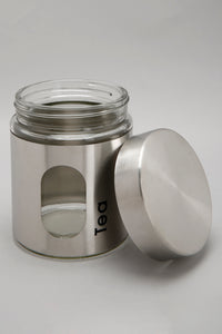 Silver Glass Metal Storage Tea Jar (Small)