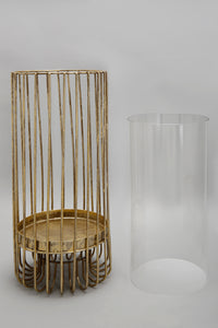 Gold Metal Candle Holder with Glass