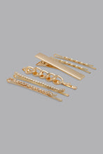 Load image into Gallery viewer, Gold Rhinestone Hair Clips (Pack of 6)