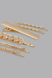 Gold Rhinestone Hair Clips (Pack of 6)